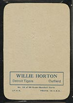 1969 Topps Supers #16 Willie Horton Detroit Tigers - Back