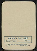 1969 Topps Supers #17 Denny McLain Detroit Tigers - Back