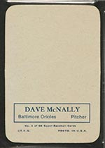 1969 Topps Supers #1 Dave McNally Baltimore Orioles - Back