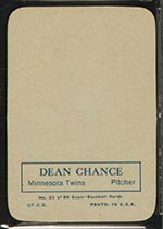 1969 Topps Supers #21 Dean Chance Minnesota Twins - Back