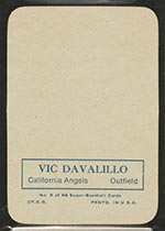 1969 Topps Supers #9 Vic Davalillo California Angels - Back